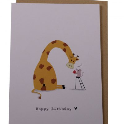 Kaart Happy birthday giraffe en muis