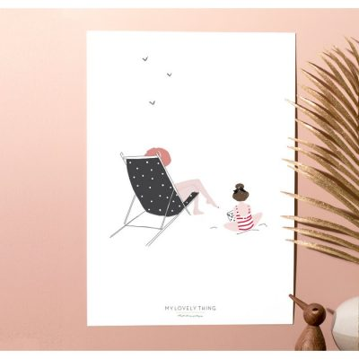 Print Beach Girl - Seated on Blue Sunbed Mum with Back view Daughter Striped Pink Swimsuit