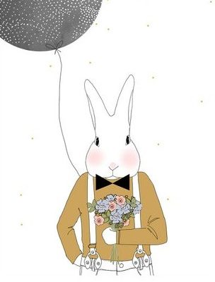 Card Mister Camille - Rabbit Portrait with Bow Tie Flowers and black Balloon
